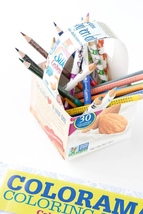 DIY Milk Carton Basket filled with art supplies