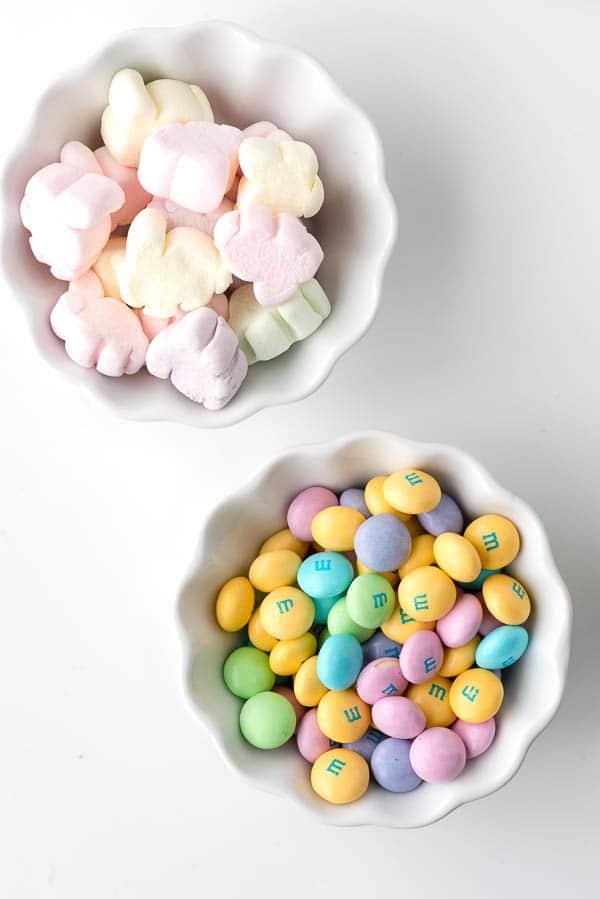 Fruity Springtime Crispy Rice Cereal Treats (bunny marshmallows and spring M&Ms) - BoulderLocavore.com