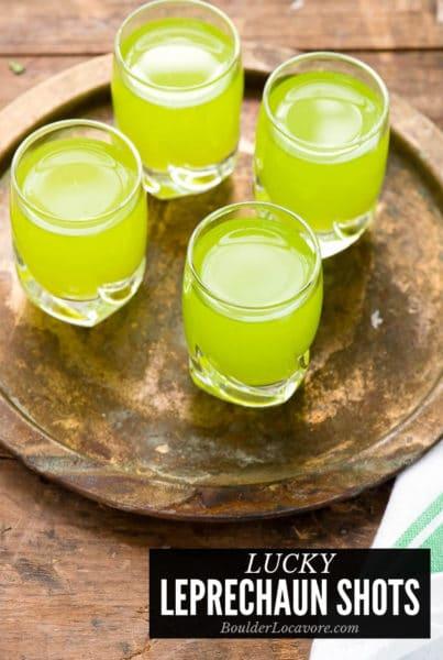 Green fruity shots for St. Patrick's day (Lucky Leprechaun Shots)