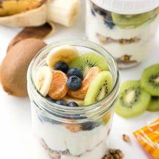 Breakfast On The Go - Granola-Yogurt-Fruit Breakfast Parfait in a mason jar