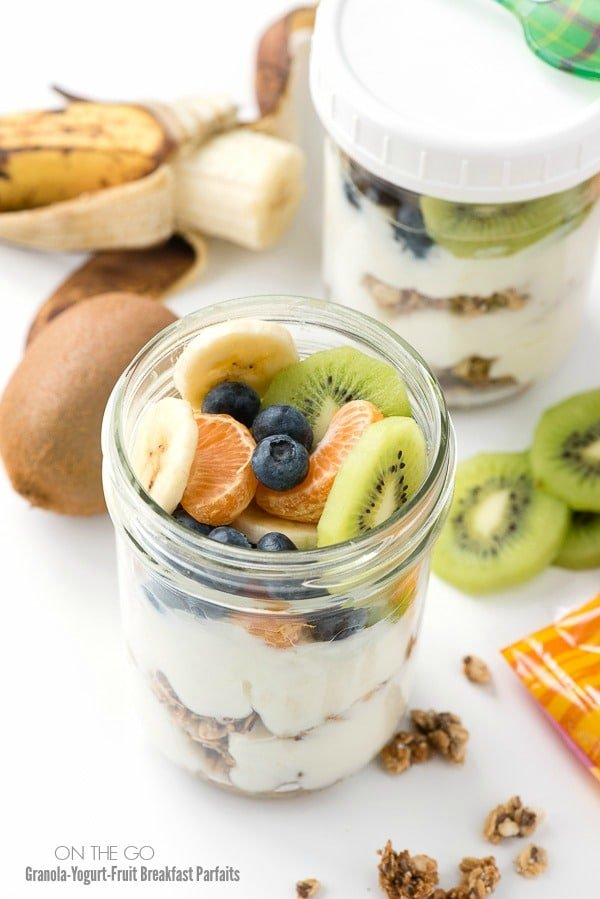 Breakfast On The Go - Granola-Yogurt-Fruit Breakfast Parfait in a mason jar