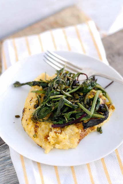 Pan Browned Polenta with Sauteed Braising Greens and Garlic Scapes - BoulderLocavore.com