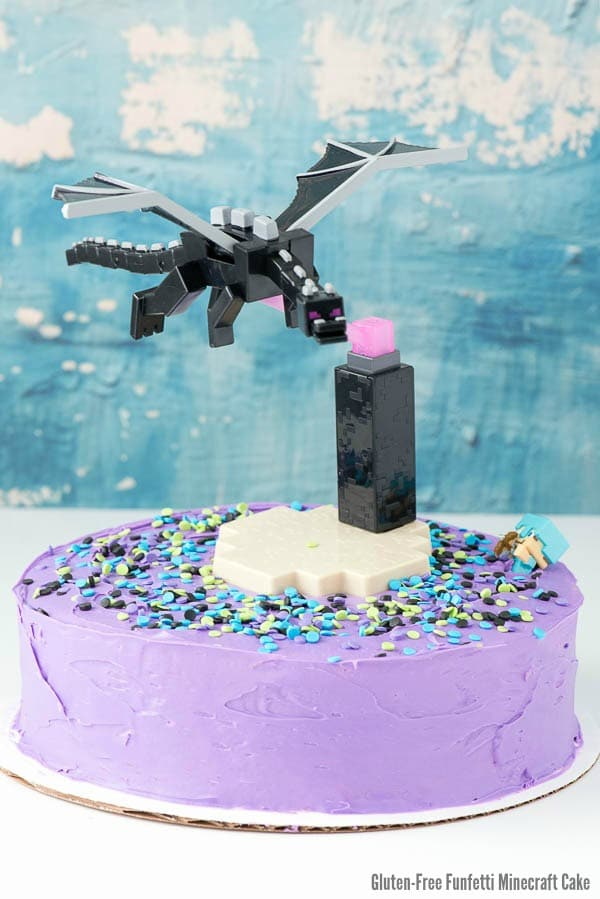 Gluten-Free Funfetti Minecraft themed birthday Cake frosted in purple gluten-free frosting