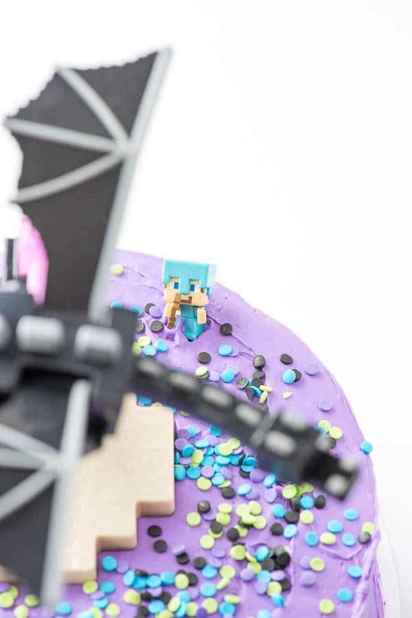 Pillsbury Gluten-Free Funfetti Cake with Minecraft figure on the top