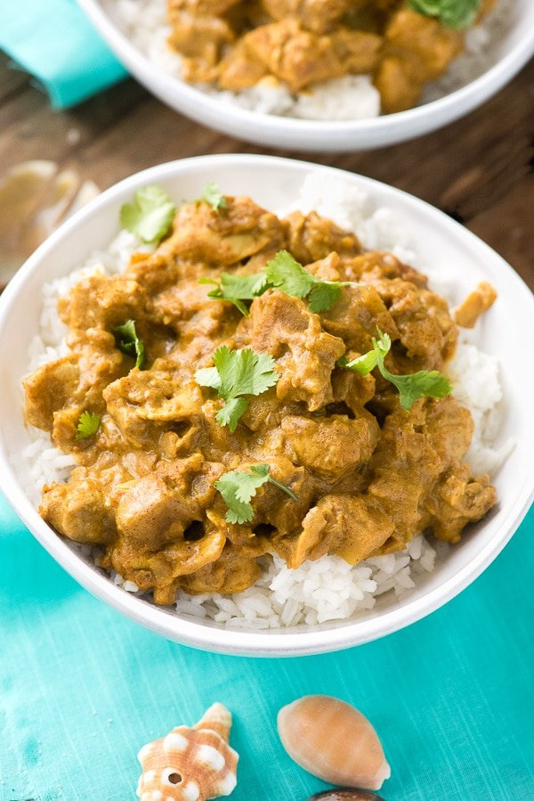 white bowl of Seychelles-style Coconut Chicken Curry