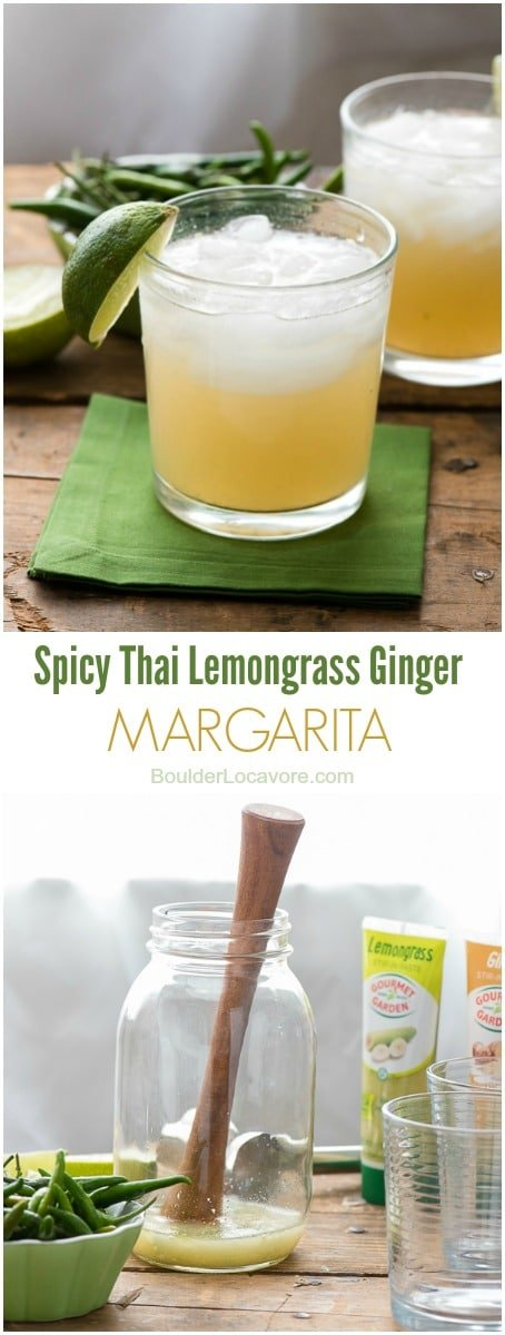 titled photo collage of Spicy Thai Lemongrass Ginger Margaritas