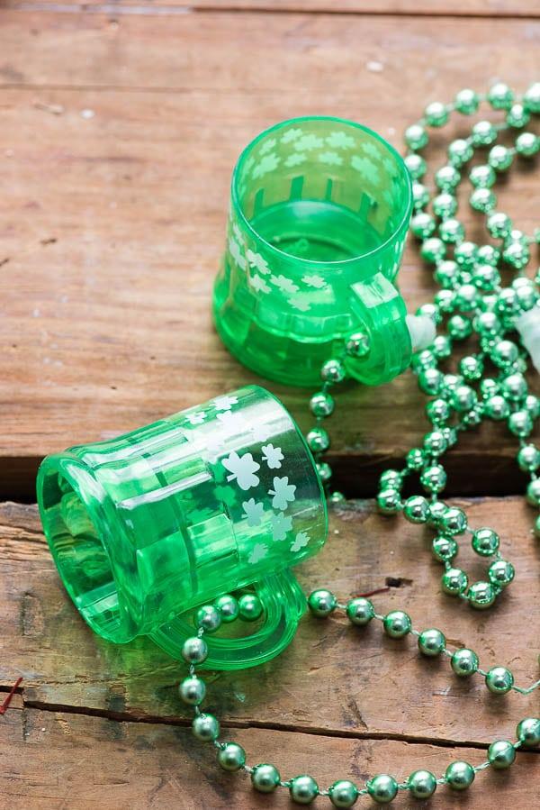 St. Patrick's Day Shamrock Shot Glass necklaces - BoulderLocavore.com