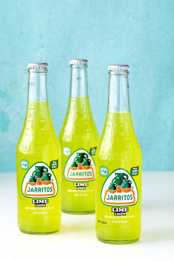 3 unopened bottles of Jarritos lime soda