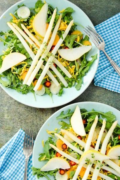 White Asparagus Arugula Spring Salad with Meyer Lemon White Balsamic Dressing - BoulderLocavore.com