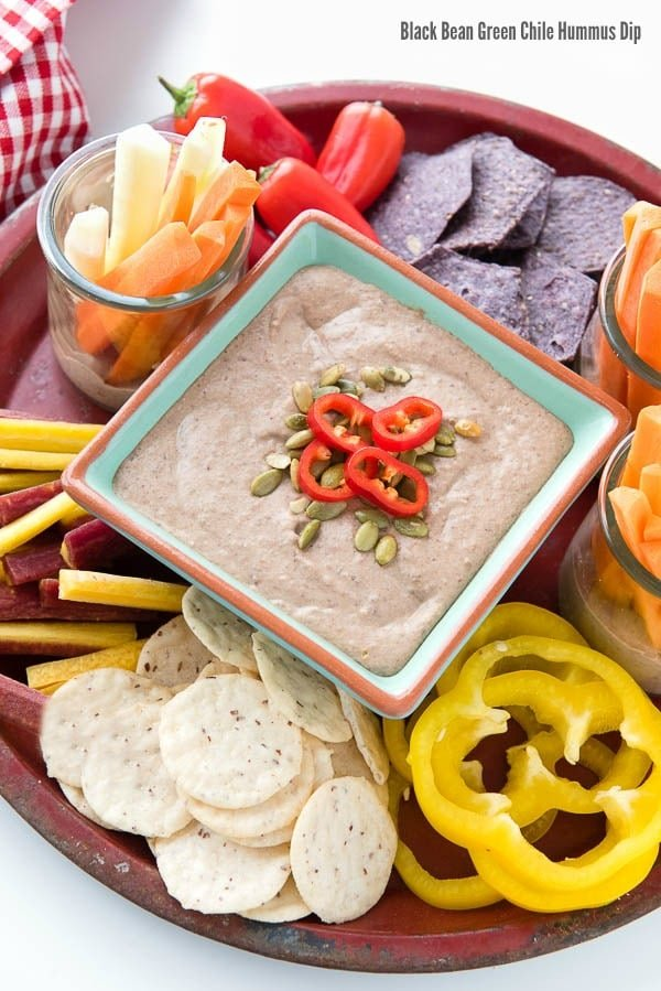 Black Bean Green Chile Hummus Dip with Chips and Vegetables - BoulderLocavore.com
