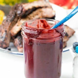 mason jar of Blueberry Whiskey homemade barbecue sauce
