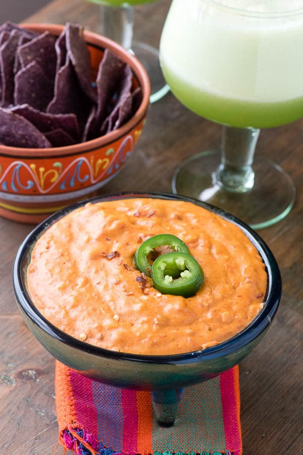 Chorizo con Queso Dip with Food Should Taste Good Blue Corn Chips and Honeydew Margaritas - BoulderLocavore.com