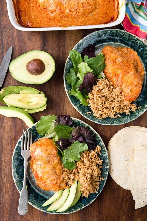 Creamy, cheesy, spicy Green Chile Sour Cream Enchilada Chicken Breasts. Quick and easy to make and everyone loves it! - BoulderLocavore.com