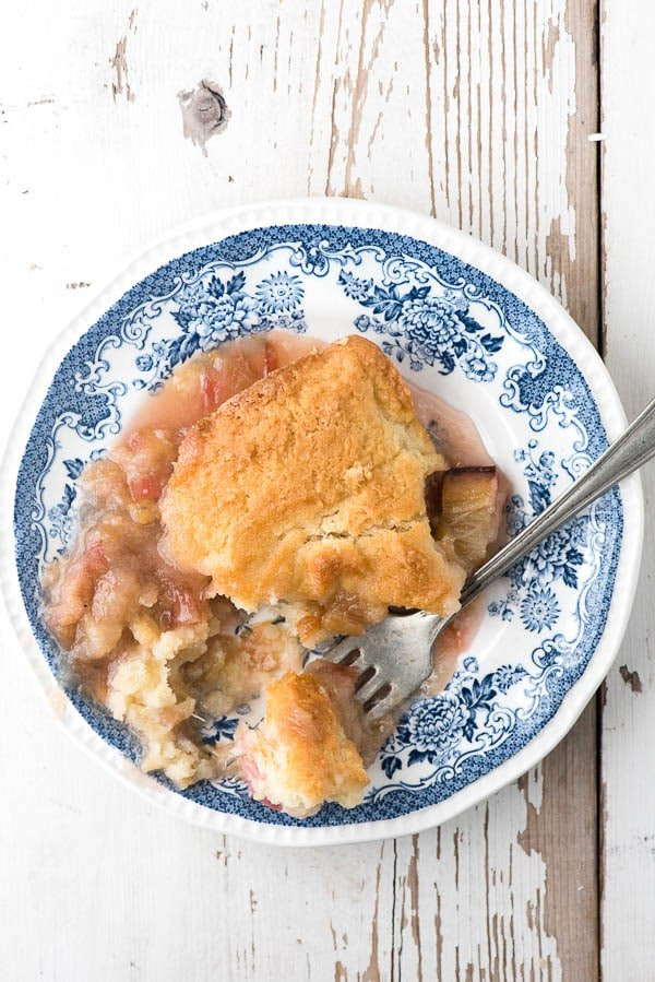 Rhubarb Grunt. A classic Americana Dessert. Sweet rhubarb topped with a cakey layer. Easy and delicious. - BoulderLocavore.com