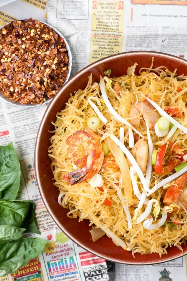 Singapore Street Noodles. Spicy, full of chicken, pork and shrimp and naturally gluten-free. - BoulderLocavore.com