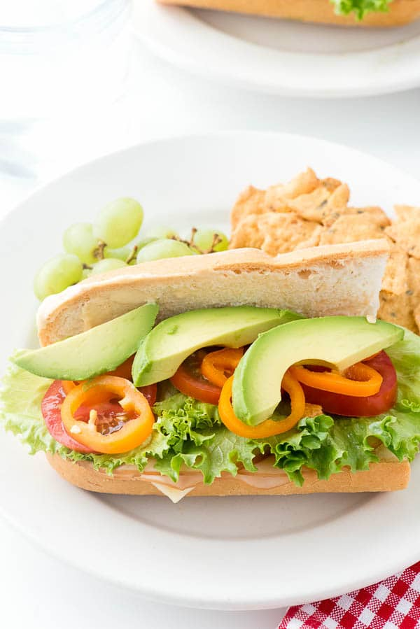 close up overhead image of a plate with a Southwestern Sub Sandwich on it