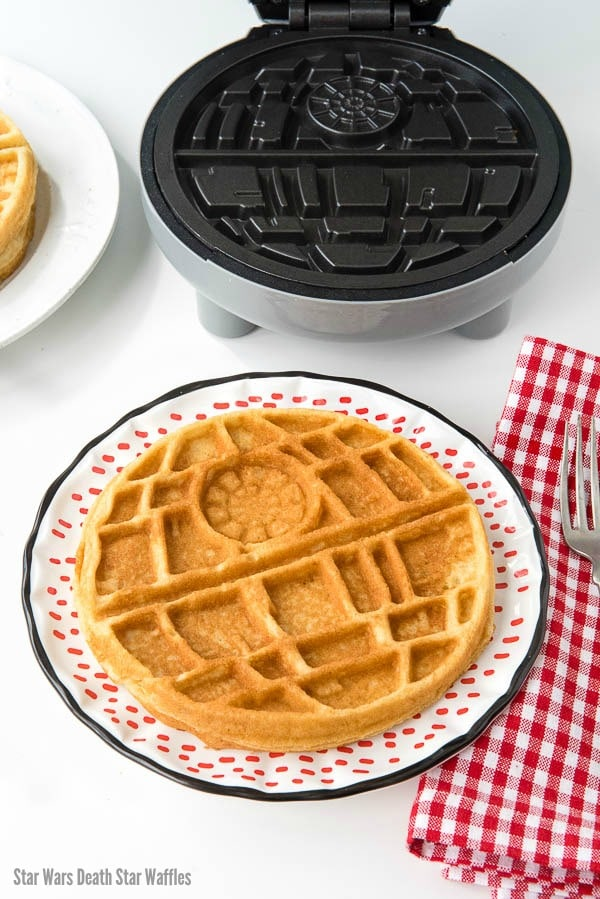 Star Wars Death Star Waffle maker and a waffle on a plate