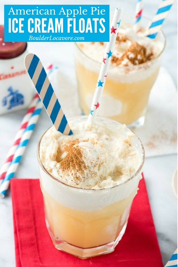 American Apple Pie Ice Cream Floats. An easy dessert recipe that can be made as a COCKTAIL or MOCKTAIL! Perfect for 4th of July! #icecream #float #dessert #easyrecipe #hardcider #applecider #4thofJuly #cocktail #mocktail