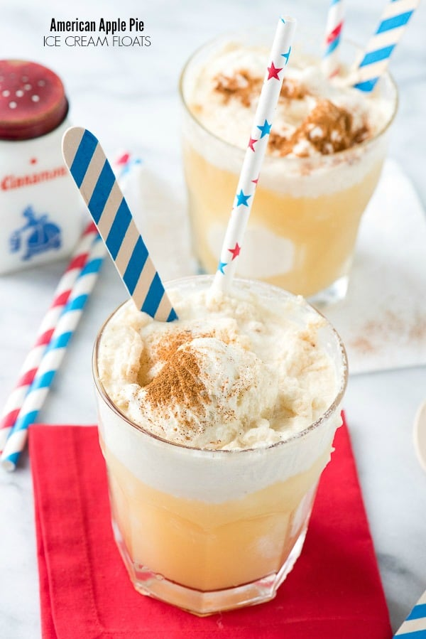 American Apple Pie Ice Cream Floats. An iconic American dessert tranformed into an ice cream float with boozy hard cider or sparking apple cider! - BoulderLocavore.com