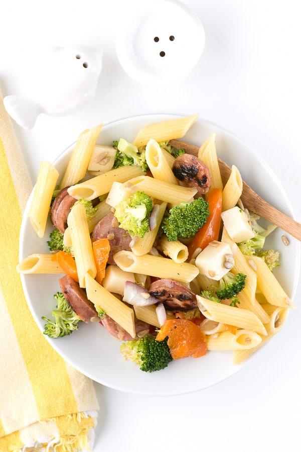 Broccoli Sausage Pasta Salad. Crunchy broccoli, chicken apple sausage slices, penne pasta, mozzarella cheese cubes and more! - BoulderLocavore.com