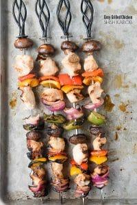 4 skewers of grilled shish kabobs