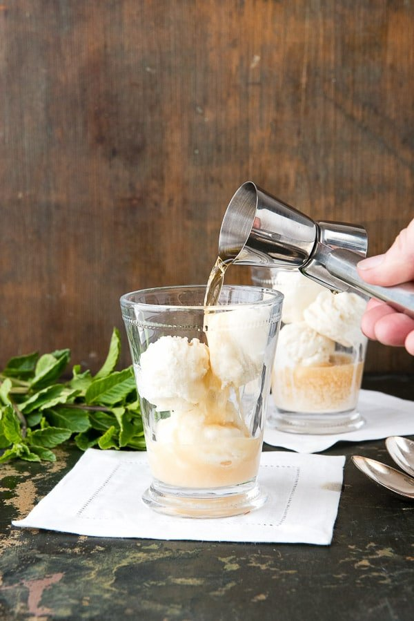 Mint Julep Derby Ice Cream Float with Homemade Mint Ice Cream. Fresh natural mint ice cream, bourbon and seltzer water taking the iconic mint julep cocktail to the next level! - BoulderLocavore.com