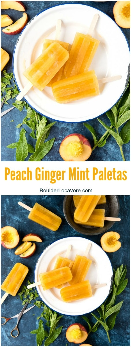 Peach Ginger Mint Paletas {popsicles}. Thirst quenching, summery popsicles made with peach nectar or fresh peach puree. - BoulderLocavore.com