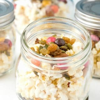 Smart Snacking with mason jars of Popcorn Trail Mix