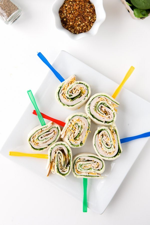 Smoked Turkey Spinach Pinwheels with fresh Herb Cream Cheese - BoulderLocavore.com