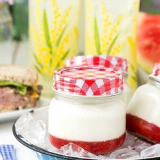 Summer dessert in a jam jar: Strawberry Jam Panna Cotta