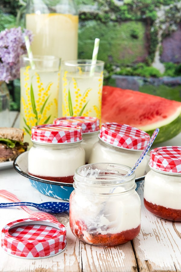 Strawberry Jam Panna Cotta recipe. Summery quick strawberry jam with creamy panna cotta. Individual servings in cute jars 'to go' or for any gathering! - BoulderLocavore.com