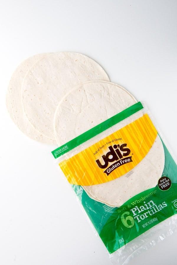 an open package of Udi's Plain Flour gluten-free Tortillas