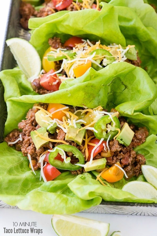 10 Minute Taco Lettuce Wraps (recipe). A fresh twist: meat tacos meet lettuce wraps. Crunchy and full of fresh flavors. Ready in 10 minutes too! - BoulderLocavore.com