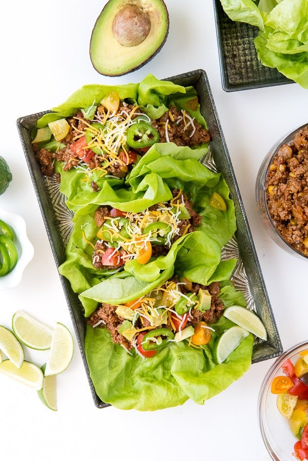 Lettuce Wraps with Taco filling in a tray