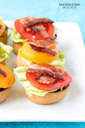 titled photo (and shown): Bacon Lettuce and Tomato Bruschetta