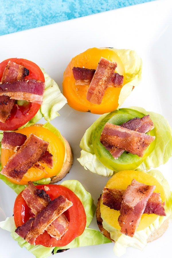 Bacon Lettuce and Tomato Bruschetta. A perfect two bite appetizer recipe with an iconic topping, fresh for summer. Gluten-free or regular. - BoulderLocavore.com