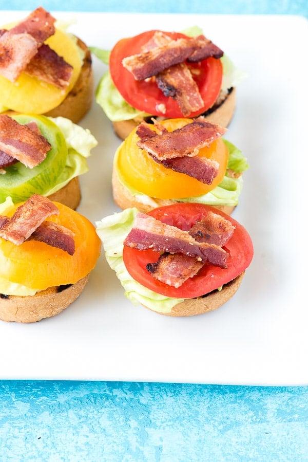 6 bite sized Bacon Lettuce and Tomato Bruschetta appetizers