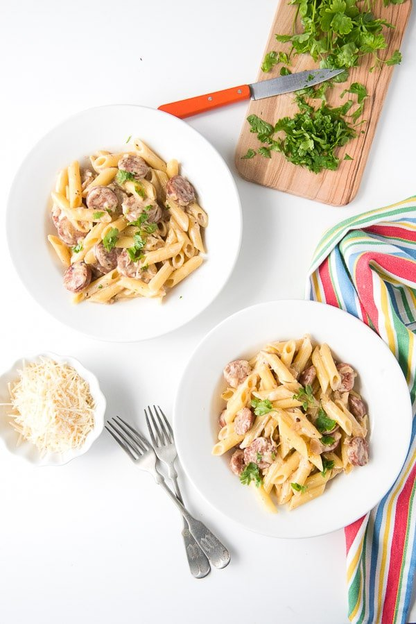 Cheesy Penne Pasta Skillet recipe with Sausage and Shallot Cream - BoulderLocavore.com