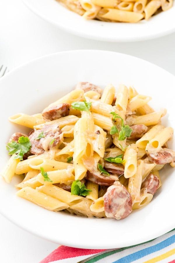 Cheesy Penne Pasta Skillet recipe with Sausage and Shallot Cream - BoulderLocavore.com