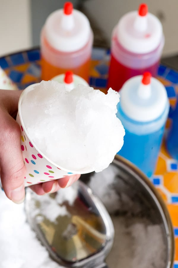 hand holding a homemade snow cone