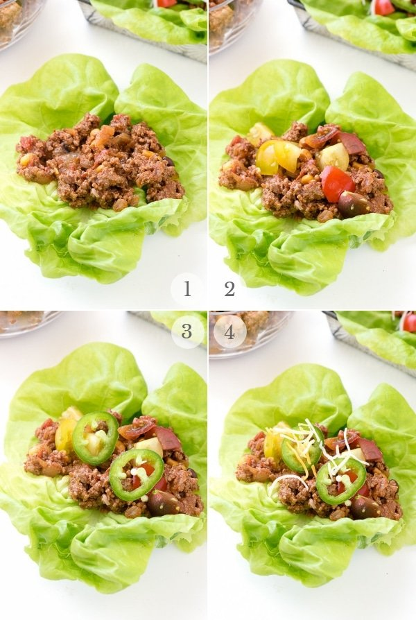 Layering Taco Lettuce Wraps collage