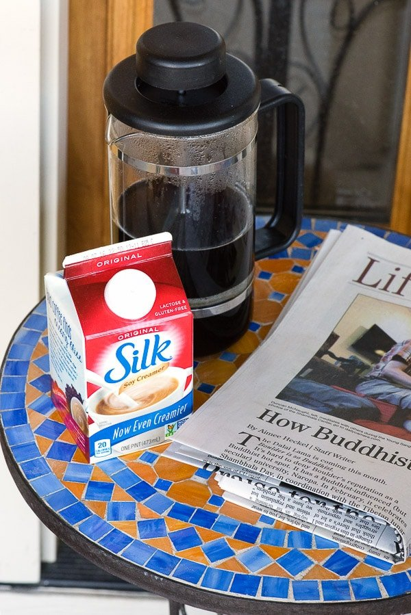The Perfect Cup of Coffee - Silk Original Creamer, French Press and newspaper - BoulderLocavore.com