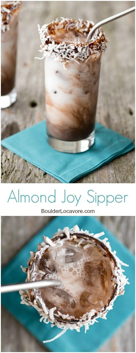 Almond Joy Sipper {dairy-free}. The flavors you love from the classic candy bar (chocolate, coconut and almond) in a light, refreshing drink! - BoulderLocavore.com
