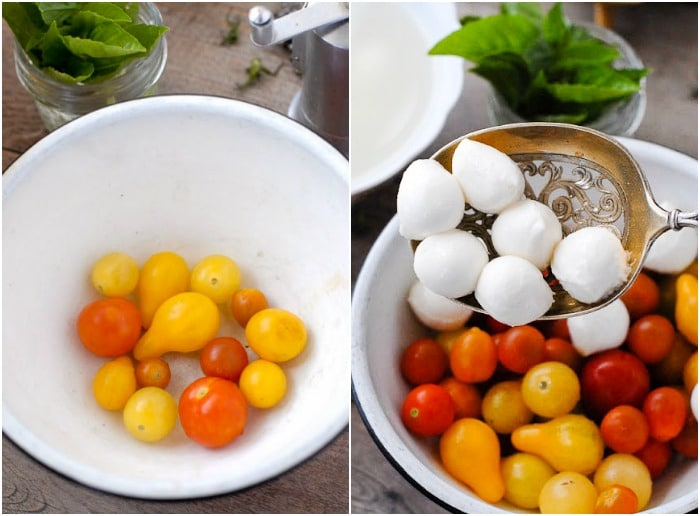 ingredients for Bite-size Insalata Caprese.