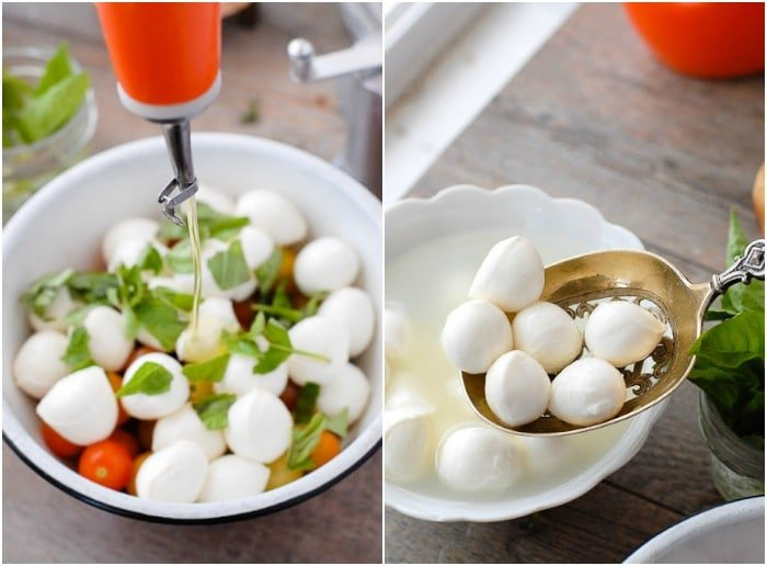 Bite-size Insalata Caprese. The classic summer salad of vine ripened tomatoes, fresh mozzarella cheese, basil leaves and olive oil is made even better by making it mini! No slicing required; a beautiful salad ready in 10 minutes or less! - BoulderLocavore.com