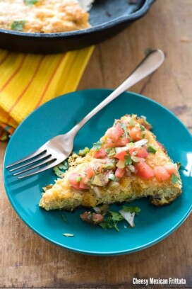 slice of Cheesy Mexican Frittata