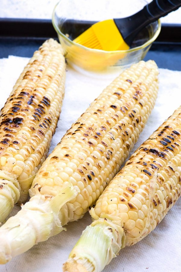 Grilled corn for Corn Salsa