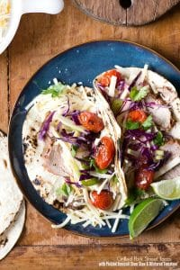 Grilled Pork Street Tacos with Pickled Broccoli Stem Slaw and Blistered Tomatoes