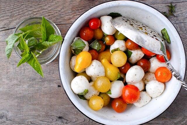 Bite-size Insalata Caprese. in a bowl