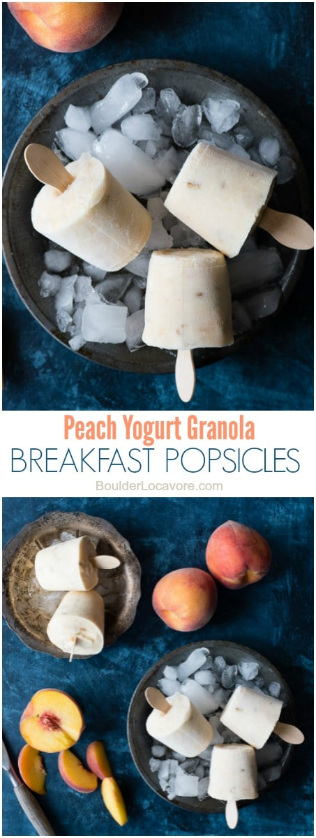 Peach Yogurt Granola Breakfast Popsicles. Three simple ingredients combine into a sweet, tangy popsicle with great texture perfect for a healthy snack anytime. Breakfast included. - BoulderLocavore.com